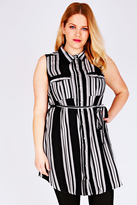 Yours Clothing Black & White Striped Sleeveless Longline Shirt With Side Slits