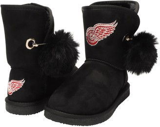 Women's Cuce Black Detroit Red Wings The Fumble Faux Fur Boots
