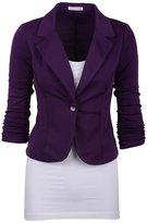 Dantiya Women's Solid Colors Plus Size One button Casual Blazer L