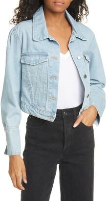 Veronica Beard Puff Shoulder Crop Denim Jacket
