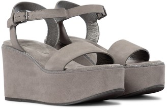 Brunello Cucinelli Suede platform wedge sandals