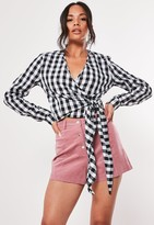 Missguided Tall Black Gingham Wrap Front Crop Top