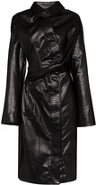 Y/Project Leather Effect Twisted Trench Coat
