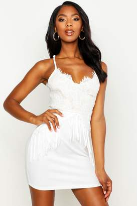 boohoo Lace & Tassel Detail Bodycon Dress