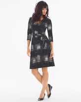Soma Intimates 3/4 Sleeve Wrap Dress Rendered Windowpane Ivory