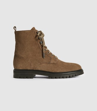 Reiss ARIANNA SUEDE LACE UP HIKER BOOTS Taupe