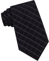Calvin Klein Classic Fit Etched Windowpane Plaid Silk Tie