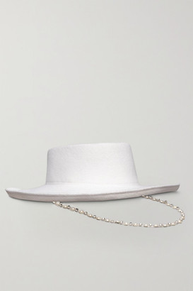 Eugenia Kim Hayley Paige Barb Faux Pearl And Crystal-embellished Wool-felt Hat