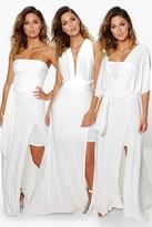 boohoo Multiway Split Leg Maxi Bridesmaid Dress