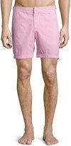 Orelebar Brown Bulldog Seersucker Swim Trunks, Pink