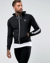 Fred Perry Sports Authentic Hooded Taped Track Jacket in Black