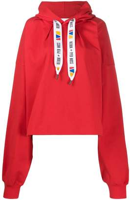 Pyer Moss Reebok By drawstring logo oversized hoodie