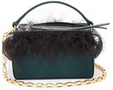Wandler Yara Box Mini Feather Satin Cross-body Bag - Womens - Dark Green