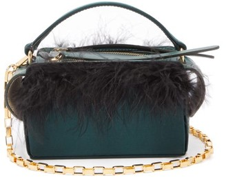 Wandler Yara Box Mini Feather Satin Cross-body Bag - Dark Green