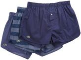 Lacoste Authentics 3-Pack Wide Stripe Print Woven Boxers Men's Underwear