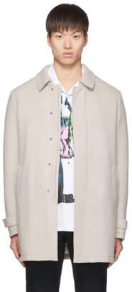 Herno Beige Wool Laser Cut Overcoat
