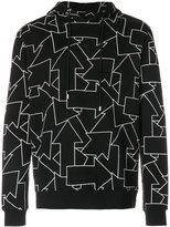 Les Hommes geometric printed hoodie - men - Cotton - S