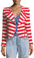 Alice + Olivia Stanton Zip-Front Striped Tweed Jacket with Frayed Edges