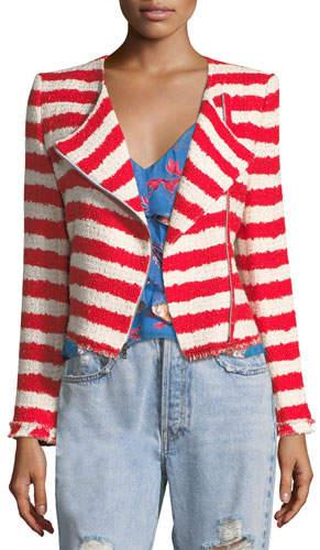 Alice + Olivia Stanton Zip-Front Striped Tweed Jacket with Frayed Edges