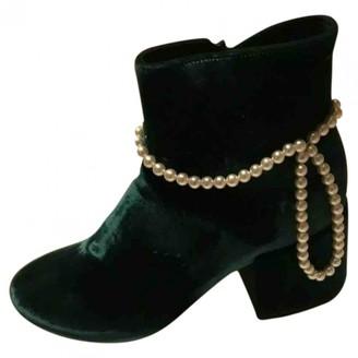 Maison Margiela Green Velvet Boots