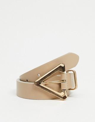 ASOS DESIGN triangle buckle waist and hip jeans belt in beige