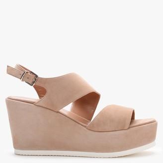 Daniel Samara Beige Suede Asymmetric Strap Wedge Sandals