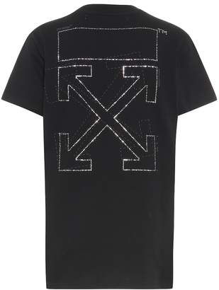 Off-White Off White Crystal-embellished cotton T-shirt