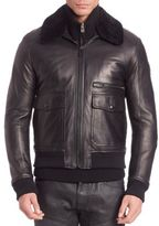 Belstaff Hallington Leather Bomber Jacket