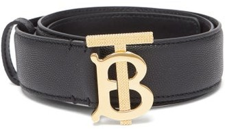 Burberry Monogram-buckle Pebbled-leather Belt - Green Gold