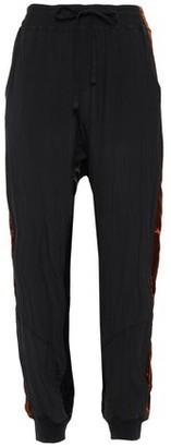 Haider Ackermann Velvet-trimmed Silk Crepe De Chine Tapered Pants