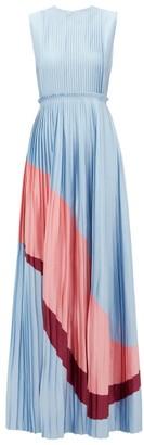 Roksanda Isabella Pleated Satin Gown - Womens - Blue