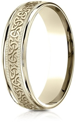 Estie G. 14k Yellow Gold 6mm Comfort Fit Round Edge Celtic Knot Design Band