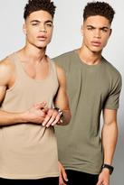 Boohoo 2 Pack Muscle T-Shirt And Muscle Vest multi