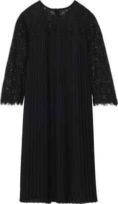 Mikael Aghal Corded Lace-paneled Pleated Crepe De Chine Dress