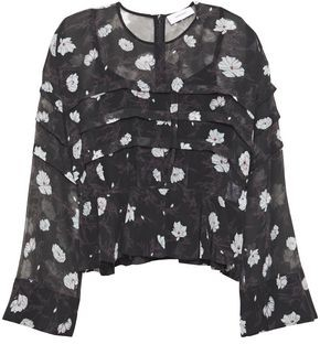 Carven Pleated Floral-print Chiffon Top