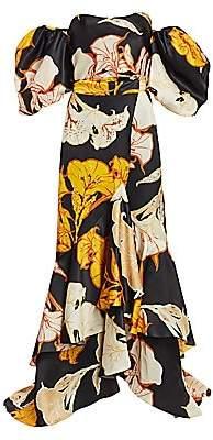 Johanna Ortiz Women's Cosmic Origin Removable Wrap Skirt Floral Ruffle Silk Gown