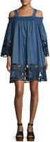 KENDALL + KYLIE Embroidered Off-the-Shoulder Chambray Dress, Medium Blue