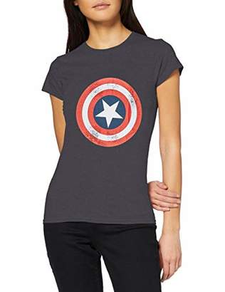 Marvel Women's Avengers Captain America Distressed Shield T-Shirt,12 (Size:L)