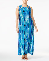 NY Collection Plus Size Printed Cutout Maxi Dress