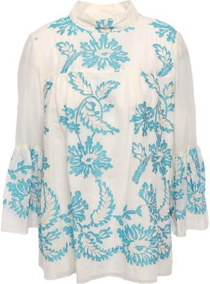 Anna Sui Embroidered Cotton-gauze Blouse