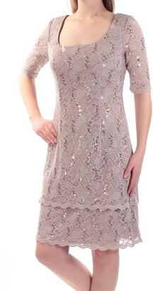 Alex Evenings Women's Short Lace Dress with Double-Tier Hem