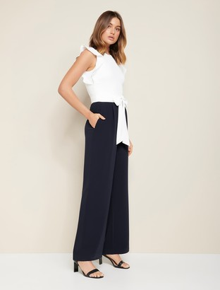 Forever New Leonie Frill-Sleeve Jumpsuit - Porcelain/Navy - 10