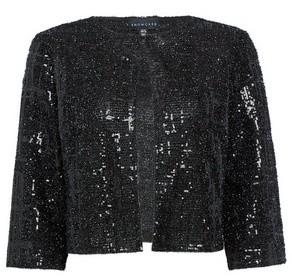 Dorothy Perkins Womens **Showcase Black Sparkle Textured Sequin Jacket, Black
