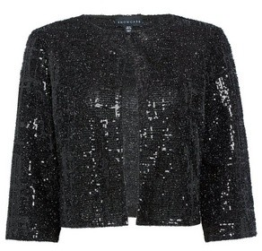 Dorothy Perkins Womens Showcase Black Sparkle Textured Sequin Jacket, Black