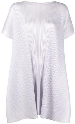 Pleats Please Issey Miyake Tie-Waist Pleated Shift Dress