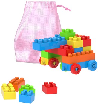 Hey Play Hey! Play! Building Blocks-Classic 90 Piece Set with Storage Bag
