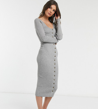 Fashion Union Tall knitted midi dress with button front