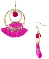 Aqua Lauren Pom-Pom and Tassel Drop Earrings - 100% Exclusive