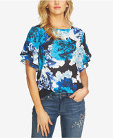 CeCe Ruffle-Sleeve Stately Bouquet Blouse
