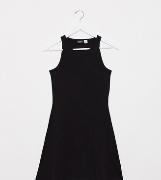 Noisy May Petite racerneck swing dress in black
